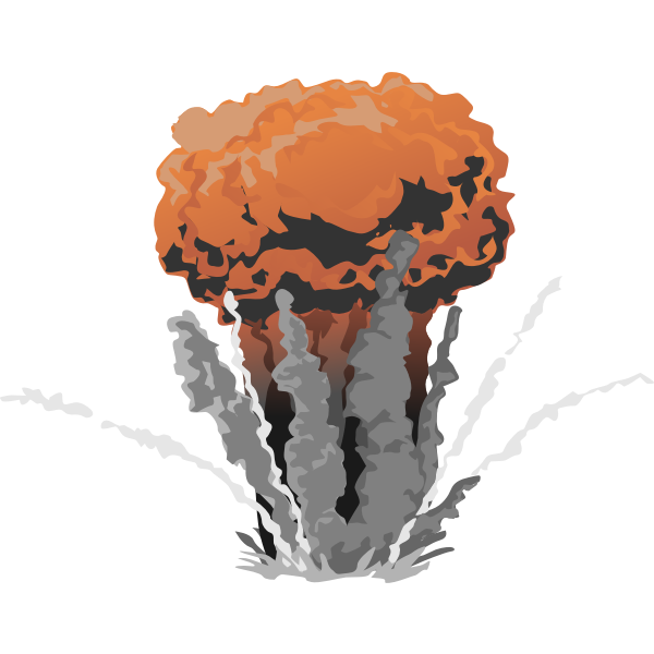Color mushroom cloud vector image