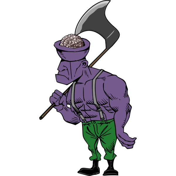Vector graphics of zombie with an exposed brain and axe