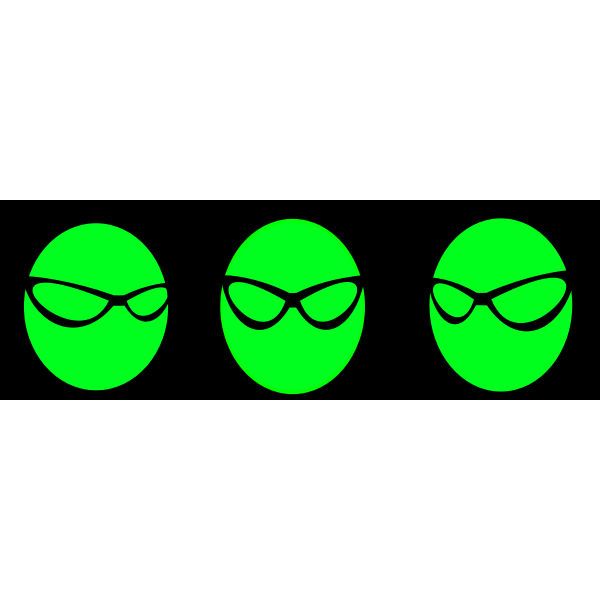 Green monsters with glasses