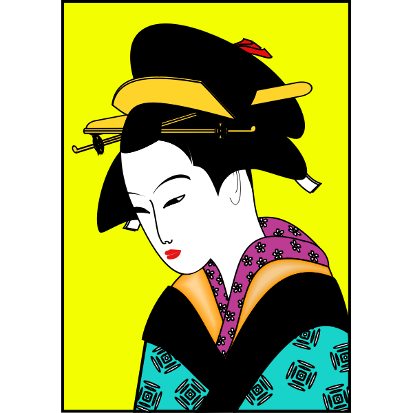 Japanese woman in color kimono vector image