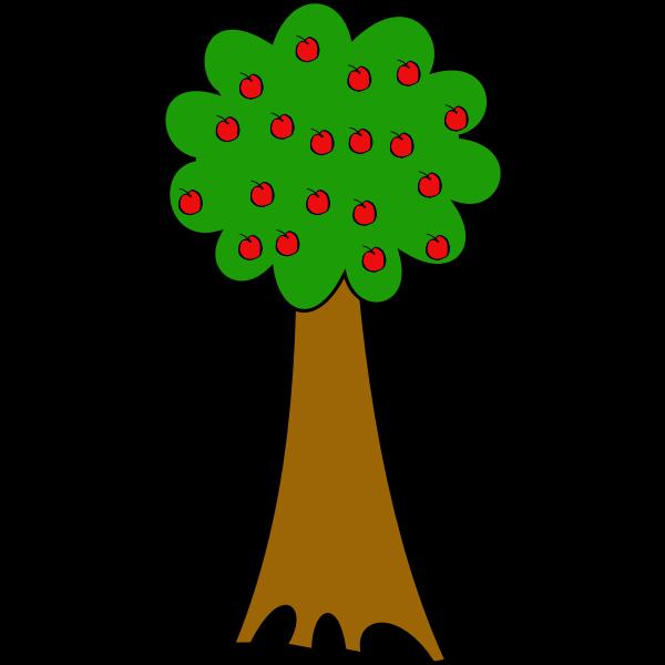 Vector drawing of cartoon tree of apples