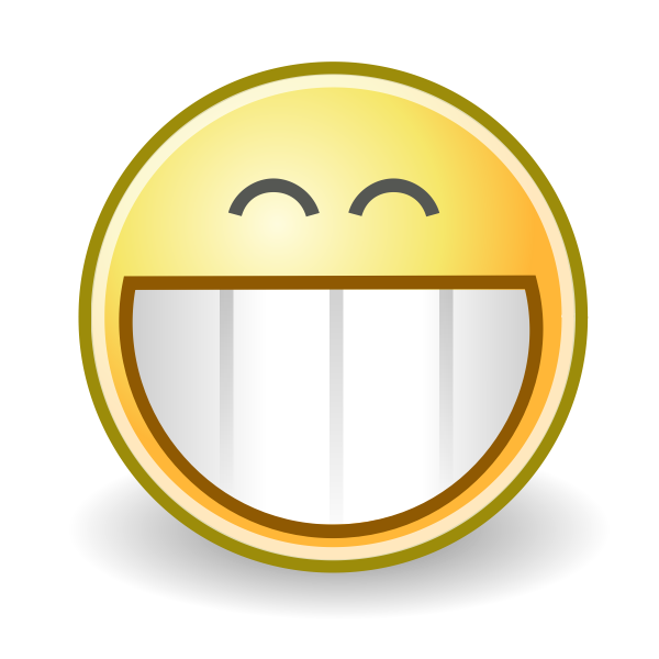 Vector graphics of huge grin face smiley