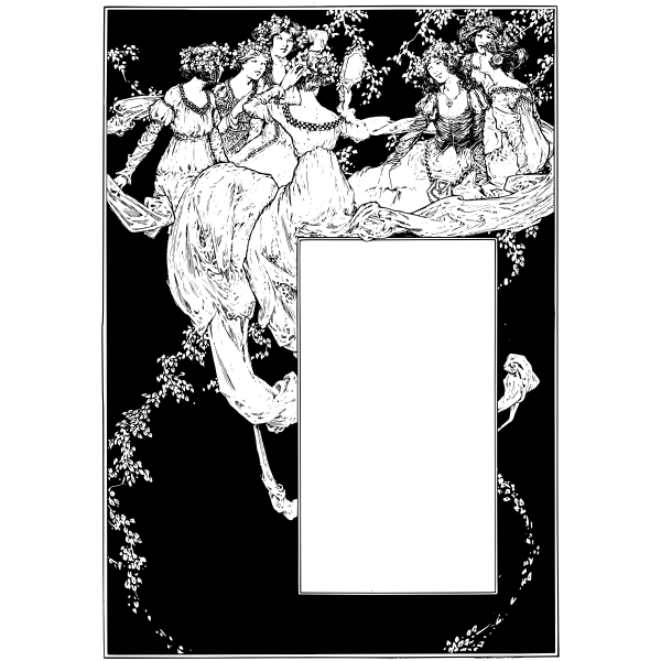 Vector graphics of fairy girls letterhead