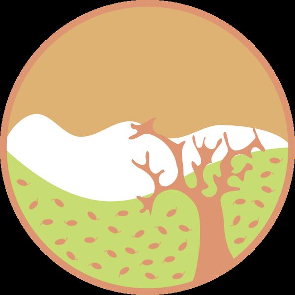 Fall scene sticker vector image