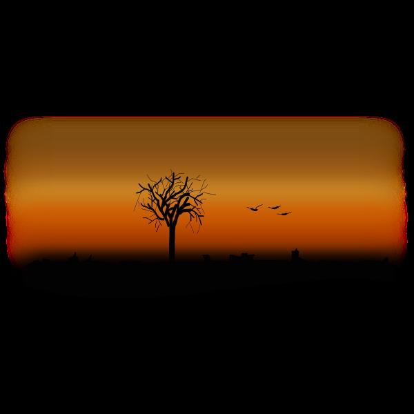 Silhouette vector clip art of fall landsape