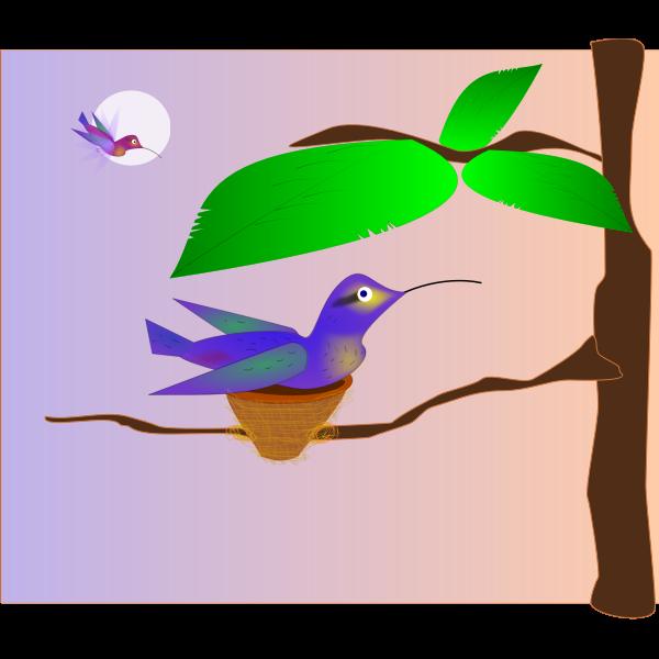 Clip art of blue bird in a nest on a tree