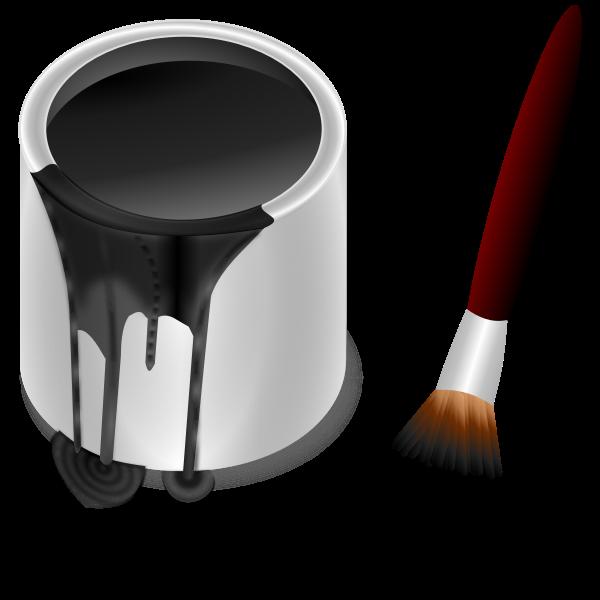 Black bucket and brush vector graphics