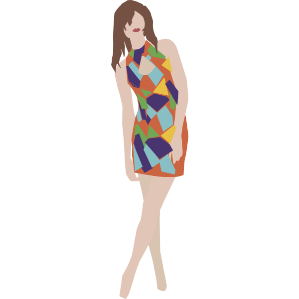 Vector image of girl posing