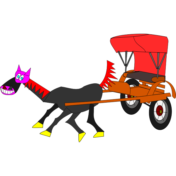 Cartoon horse and carriage