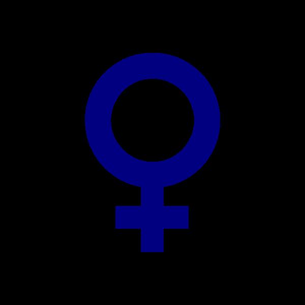 Vector image of dark blue gender symbol for females