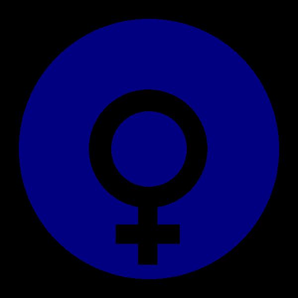 Vector clip art of gender symbol for females on blue background