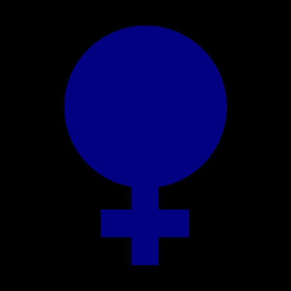 Vector drawing of full blue gender symbol for females