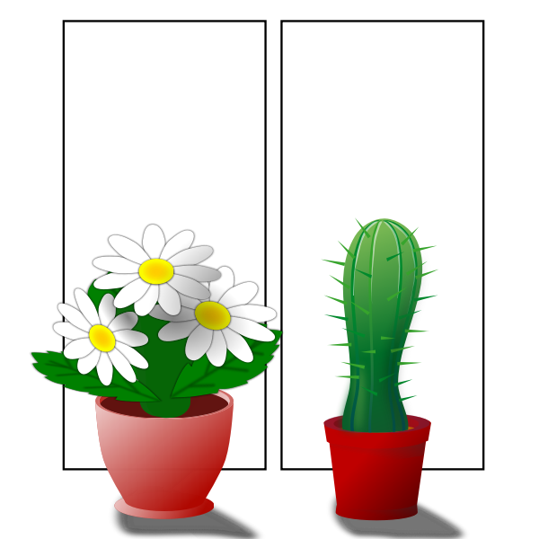 Vector illustration of potted flower plants on window