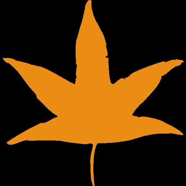 Image of orange silhouette of a leaf