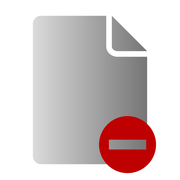 Grayscale delete file icon vector clip art