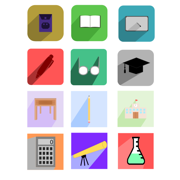 Vector illustration of education flat design icons with shadows