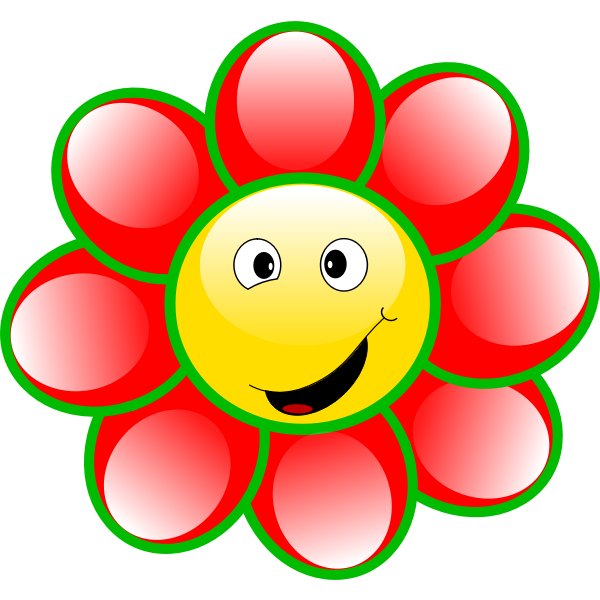 Drawing of smiling red and green flower