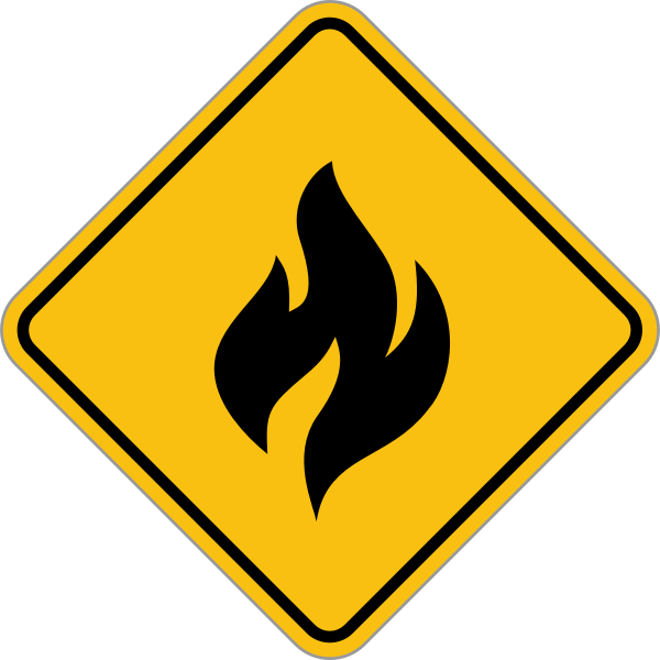 Vector image of yellow fire sign