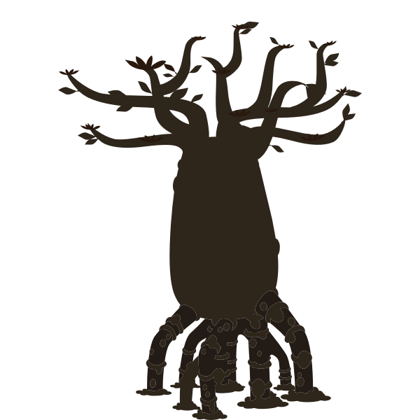 Firebug bottle tree silhouette vector illustration