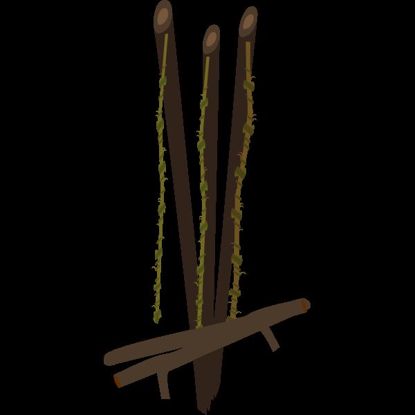 Vector clip art of firebog fishing rods