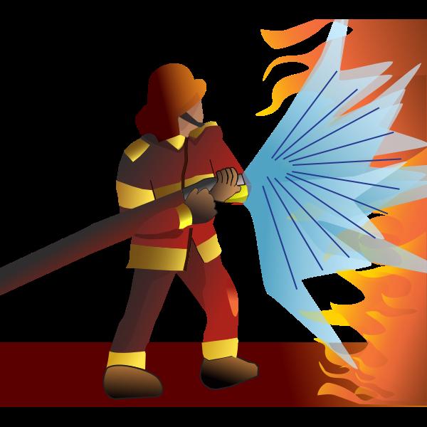 Vector image of helmeted firefighter battles flames