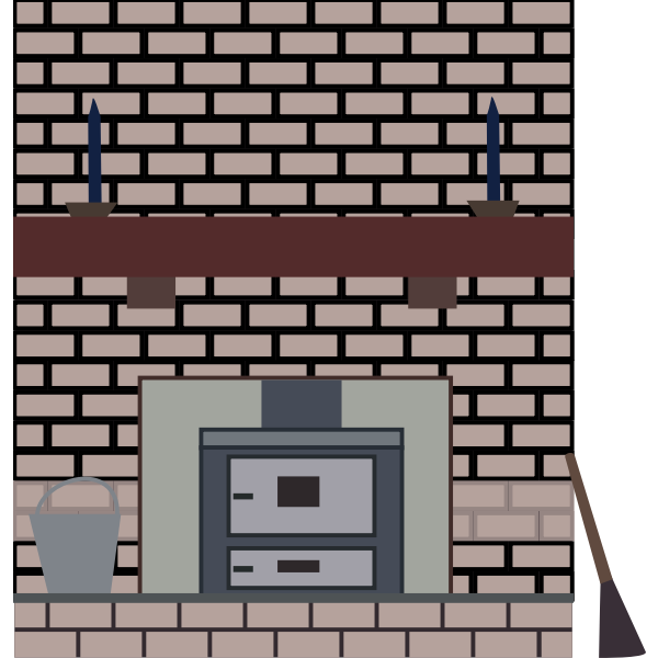 Coal stove in a fireplace vector drawing