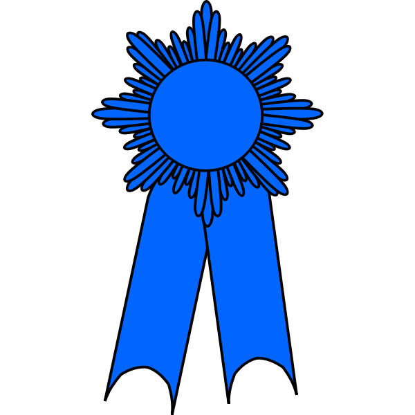 Vector drawing of medal with a blue ribbon