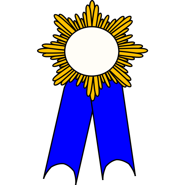 Vector graphics of golden medallion with blue ribbon