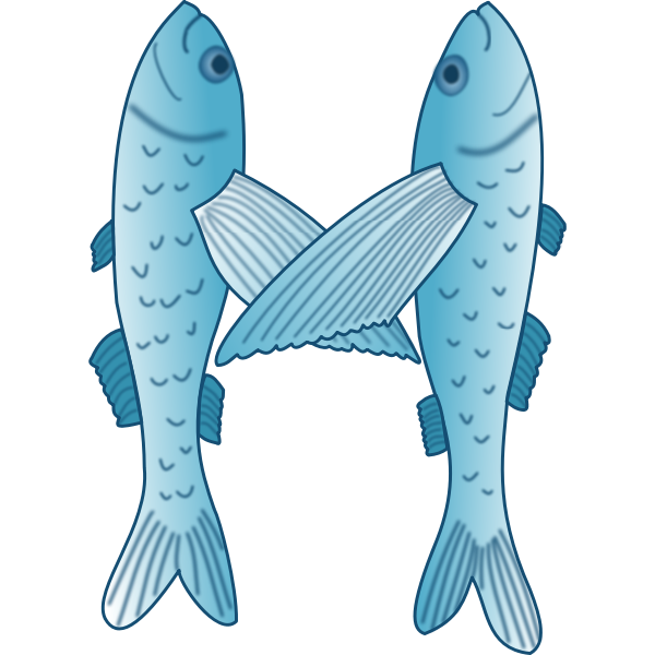Blue and white vector illustration of two fish