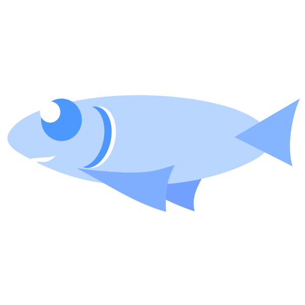 Blue cartoon fish vector clip art