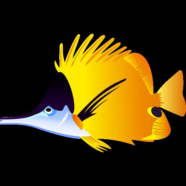Black and yellow fish vector illustration