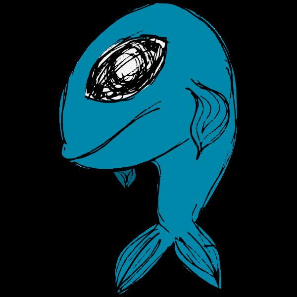 Blue cartoon fish vector illustration