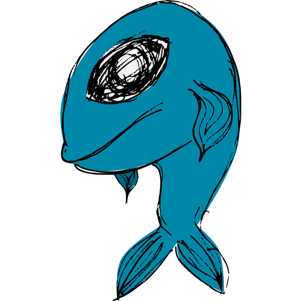 Blue cartoon fish vector illustration
