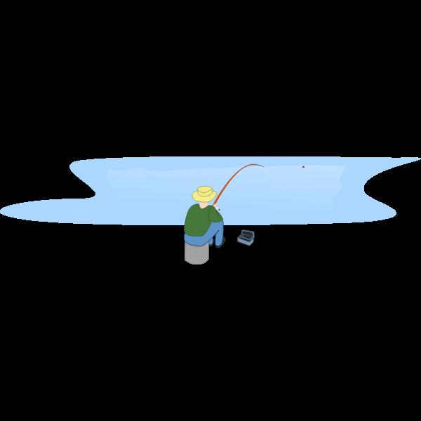 Fisherman fishing by a lake vector image