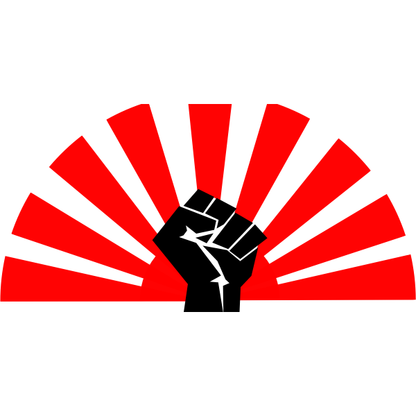 Socialist power fist with sun sign in background vector illustration