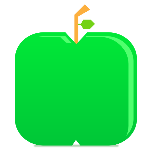 Flat Green Apple Minimal Glossy