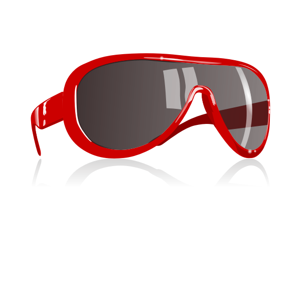 Photorelistic vector image of sunglasses with red frame
