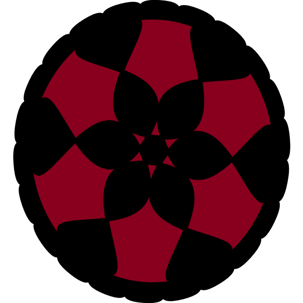 Red and black floral circle