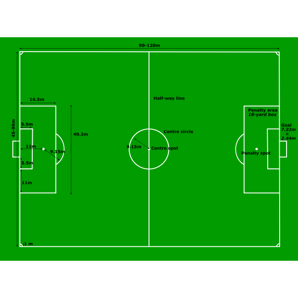 Football Pitch Measurements Vector