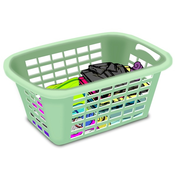 Basket with dirty laundry vector clip art