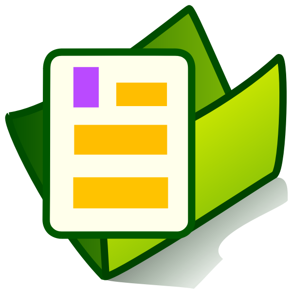 Vector drawing of green PC document folder icon