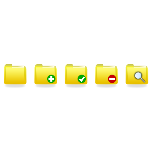 Vector drawing of selection of yellow folder icons