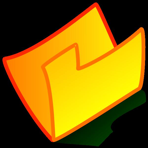 Vector clip art of orange bent folder icon