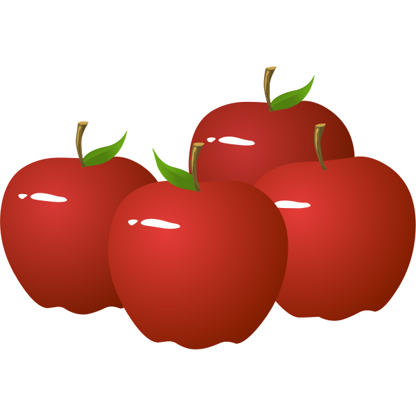 Vector illustration of four shiny apples
