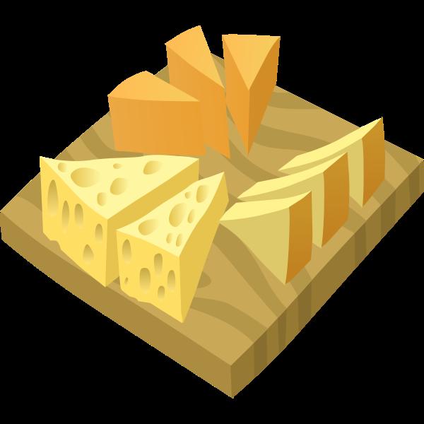 Vector illustration of cheese platter serving