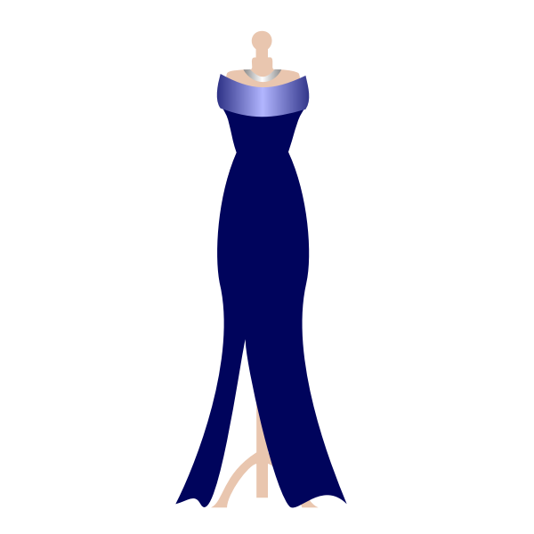 Formal navy dress on dress stand vector image