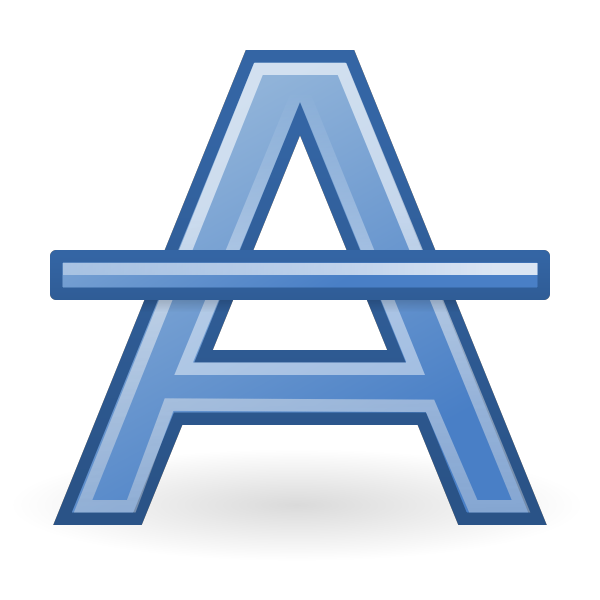 Blue letter A with strike through vector clip art