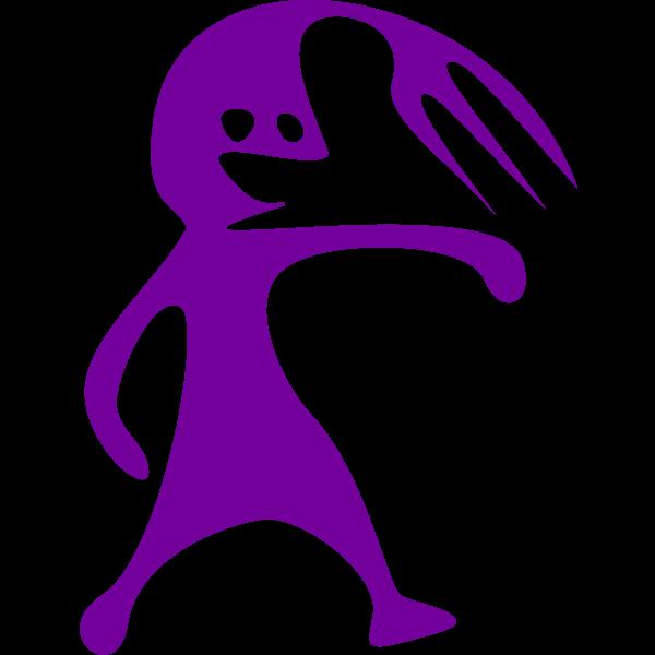 Purple comic figure