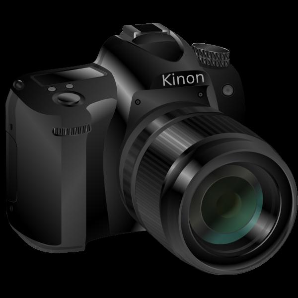 Photorealistic vector image of a black professional camera