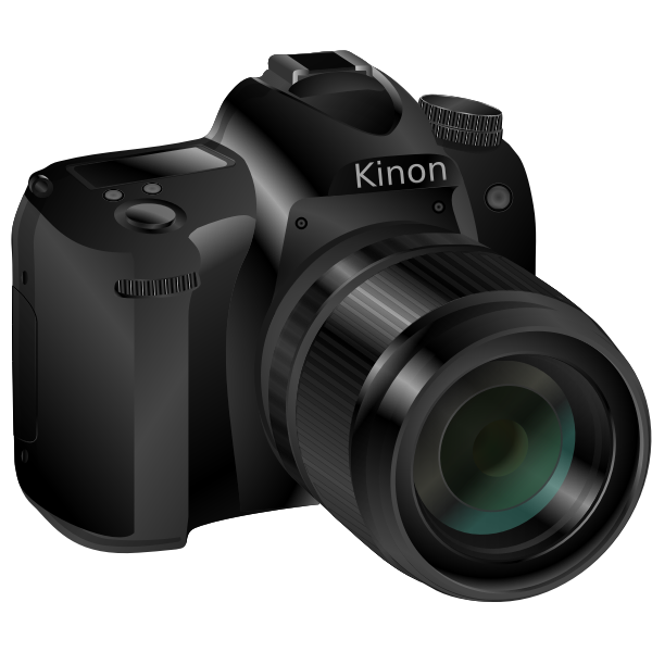 Photorealistic vector image of a black professional camera